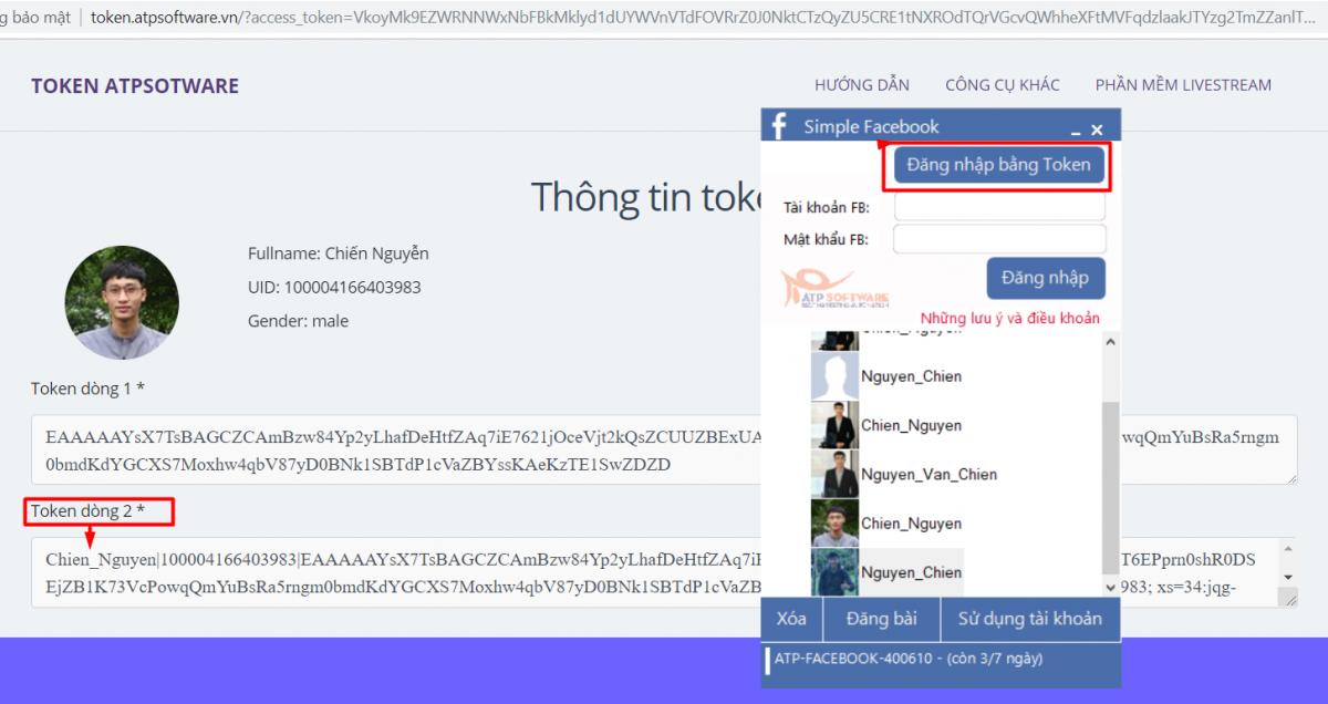 Get token đăng nhập phần mềm Simple Facebook - Phần mềm tự động gửi & spam tin nhắn bán hàng Facebook miễn phí