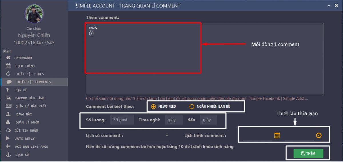 auto comment bình luận trên Simple Account - Hướng dẫn auto comment, bình luận – tăng tương tác trên Facebook