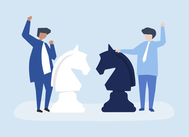 Characters of two businessmen playing chess illustration Free Vector