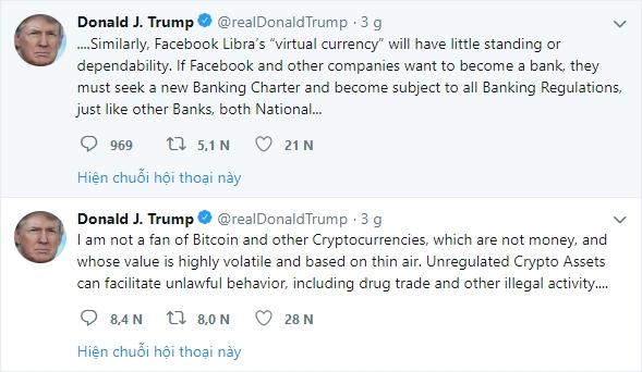 Tổng thống Mỹ Donald Trump lên tiếng chống lại đồng tiền ảo Libra của Facebook