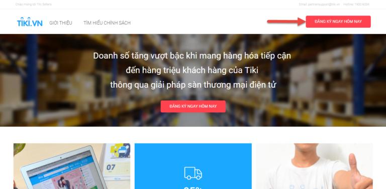 Bước 2: Điền thông tin đăng kí - bán hàng trên Tiki