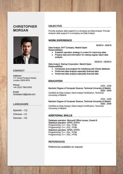 Mẫu CV tiếng Anh