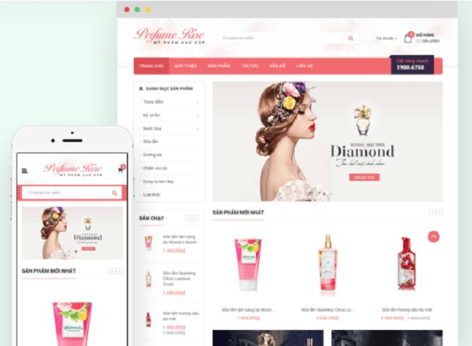 thiết kế web bán mỹ phẩm online